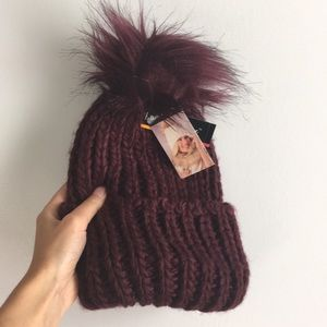 Knit Beanie with Fur